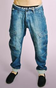 Blue Denim Jeans with Grey Ribbed Waistband & Cuffs